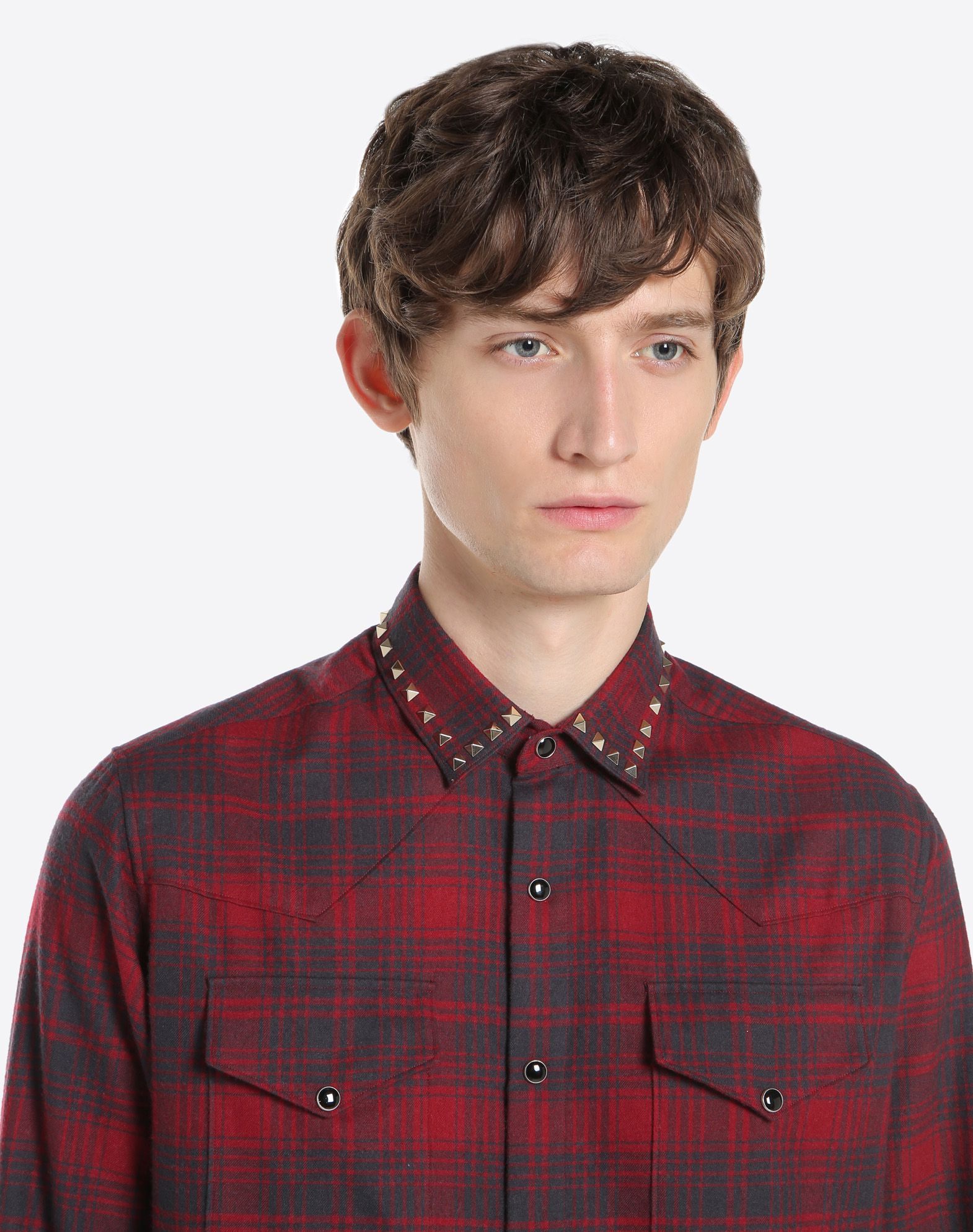 VALENTINO Checked shirt with studs on collar Shirt U a
