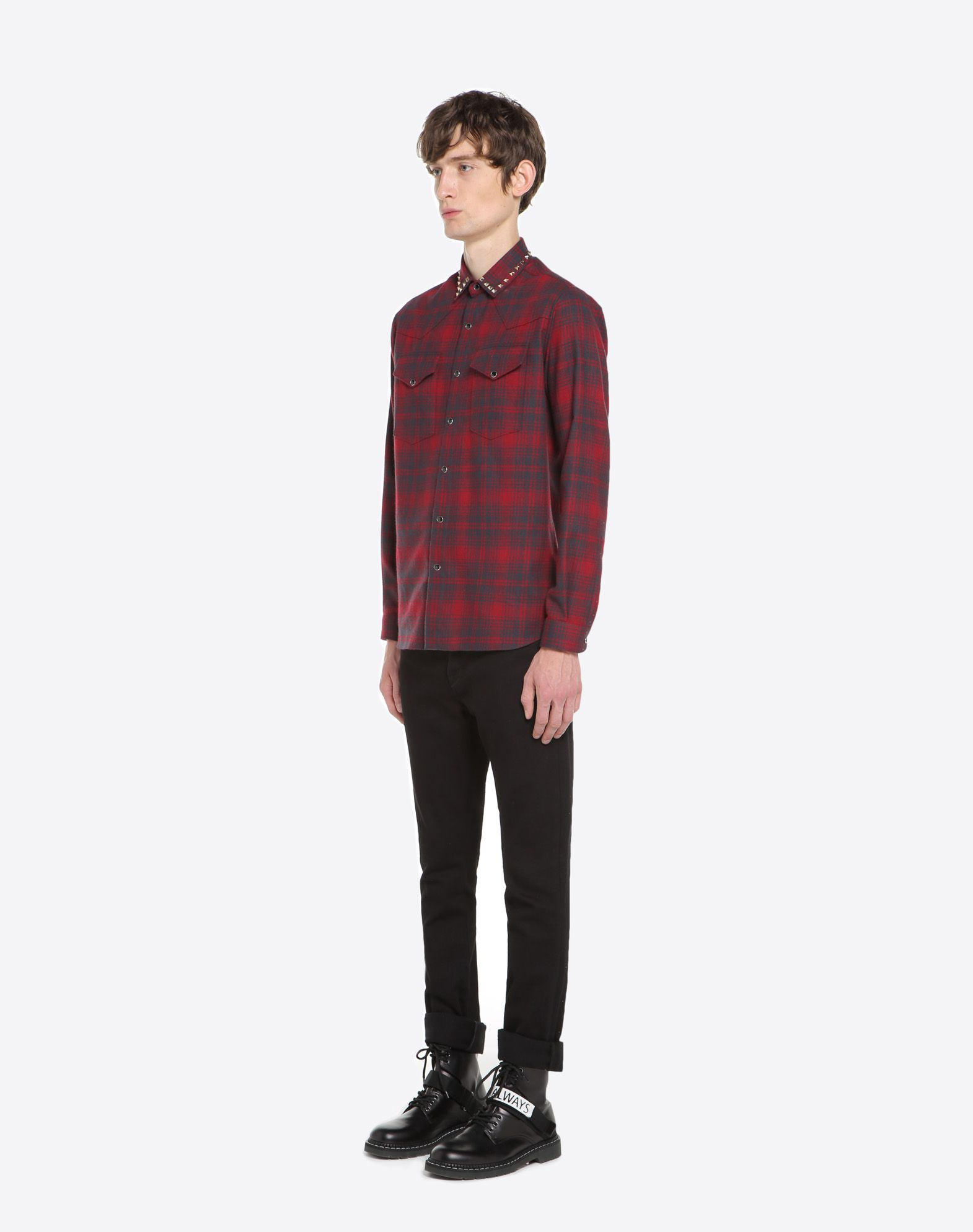 VALENTINO Checked shirt with studs on collar Shirt U d