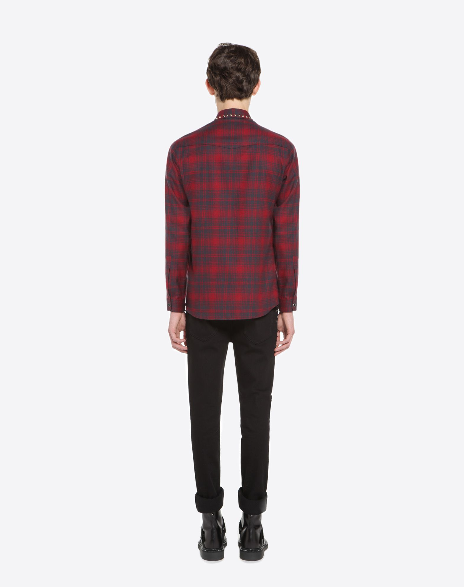 VALENTINO Checked shirt with studs on collar Shirt U e