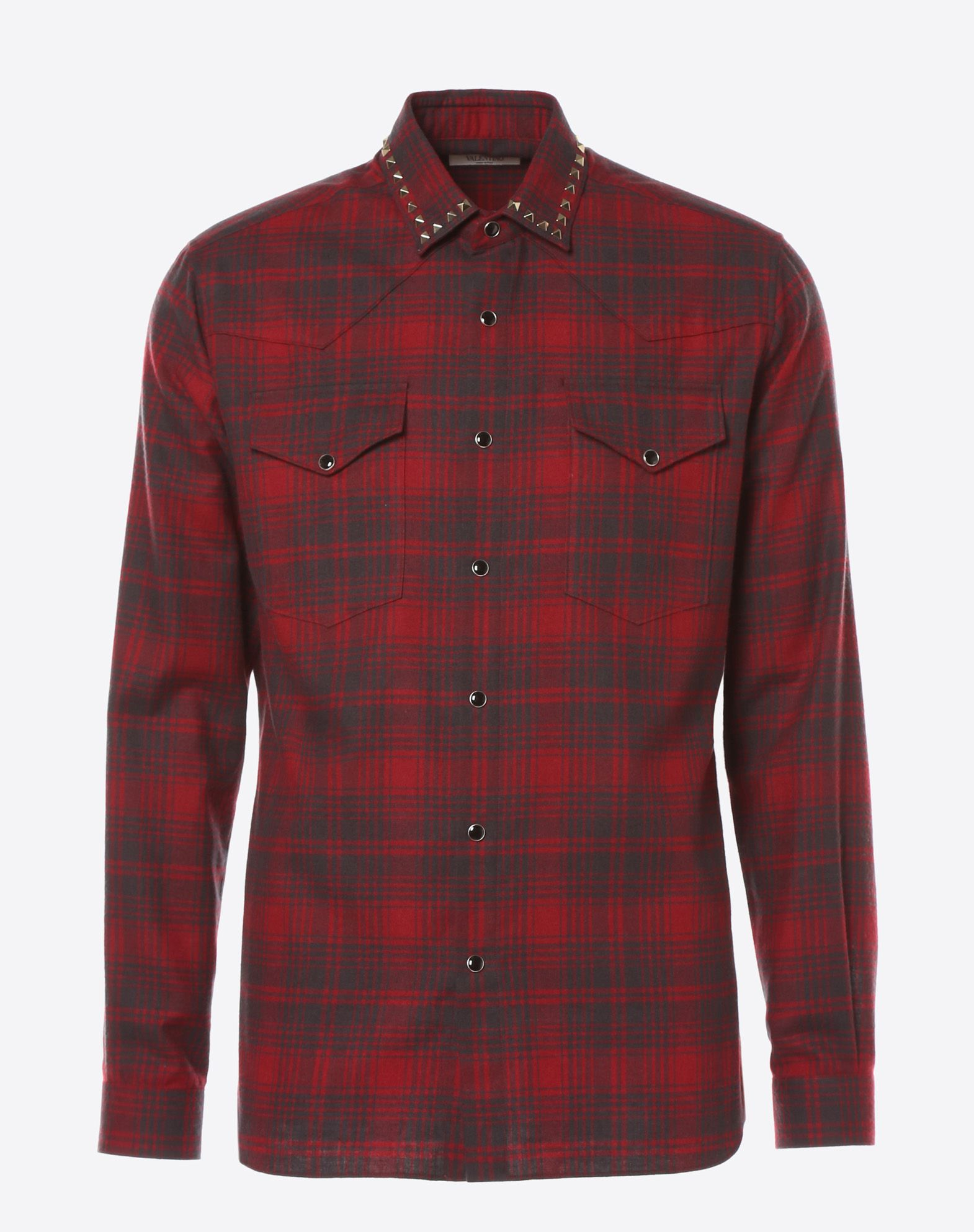 VALENTINO Checked shirt with studs on collar Shirt U f