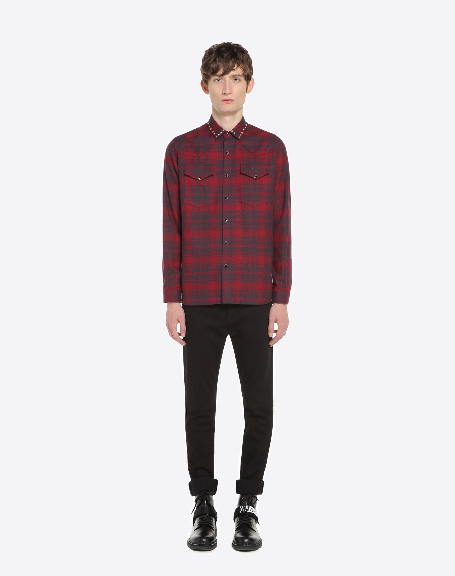 VALENTINO Checked shirt with studs on collar Shirt U r