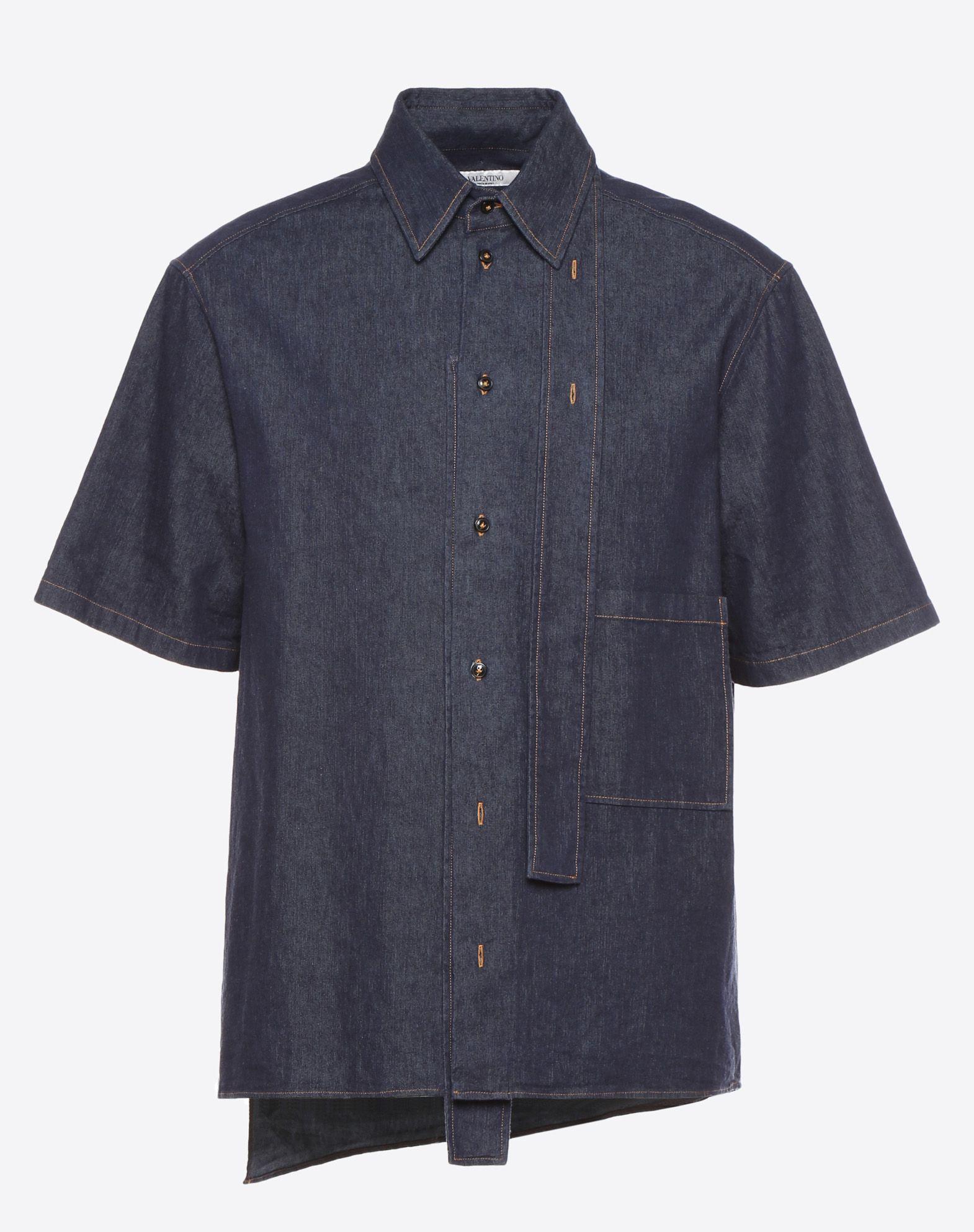 VALENTINO Classic Neckline Single chest pocket Button closing Short sleeves  12149218ra