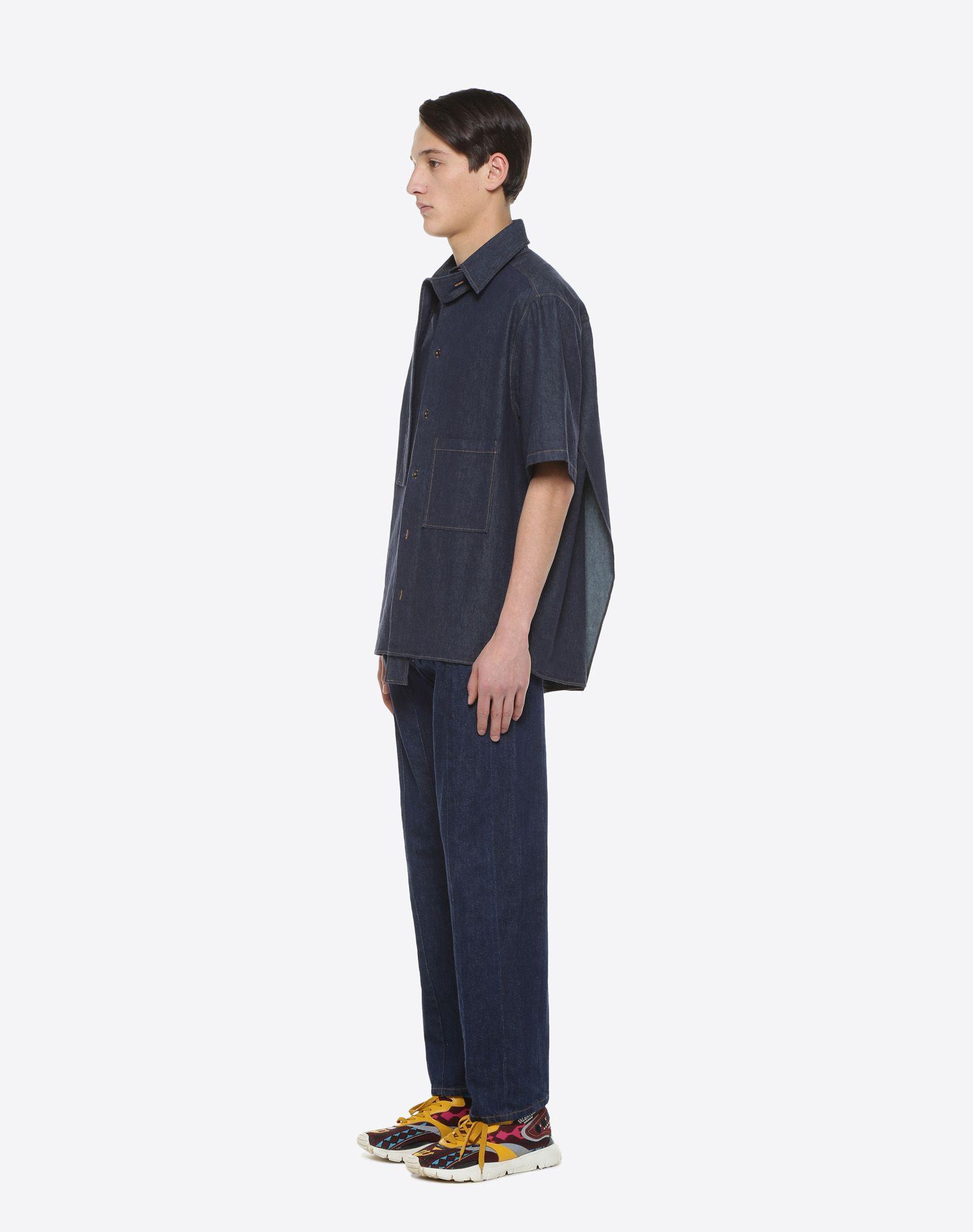 VALENTINO UOMO Short-sleeve couture denim shirt Shirt & blouse U d