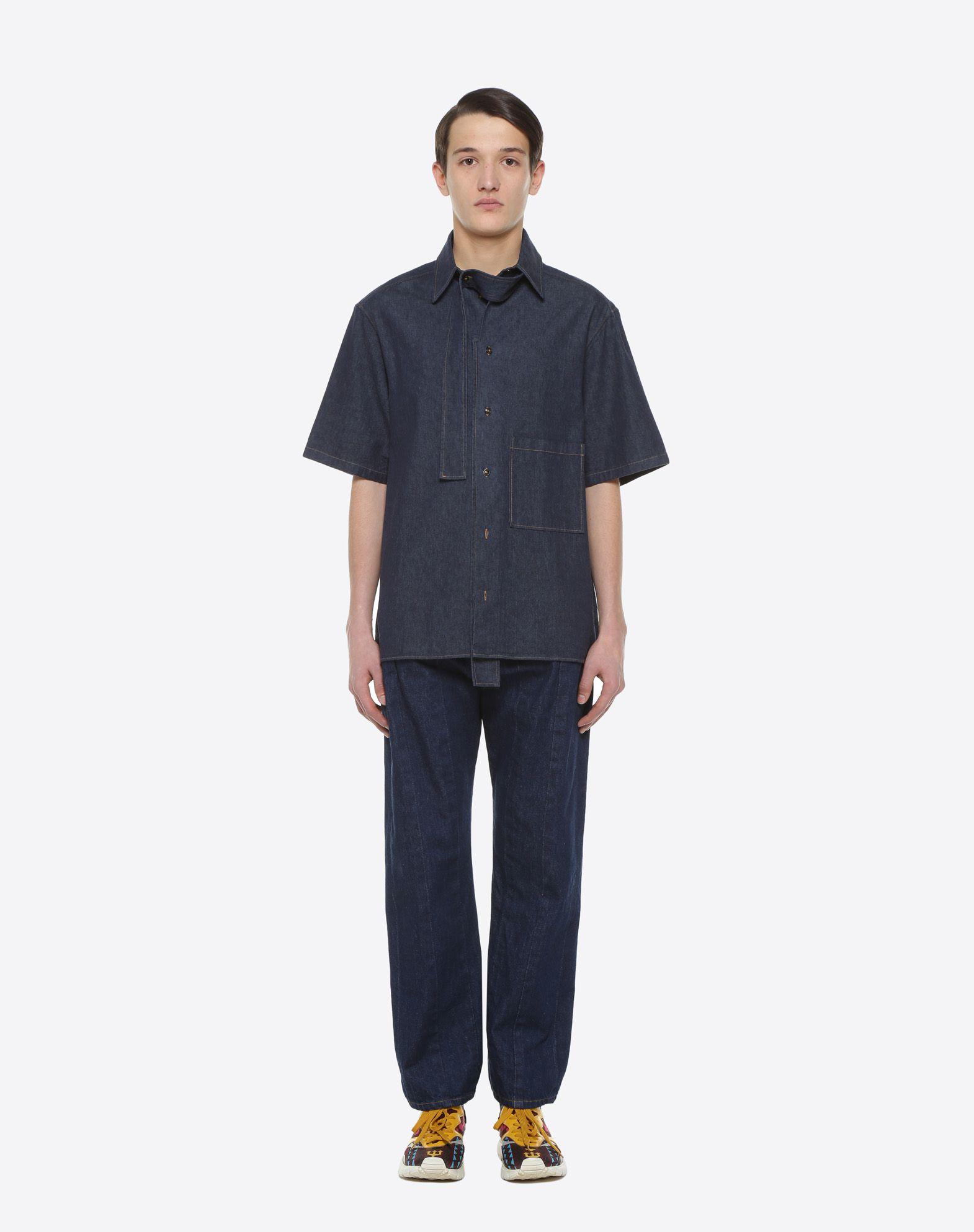 VALENTINO UOMO Short-sleeve couture denim shirt Shirt & blouse U r