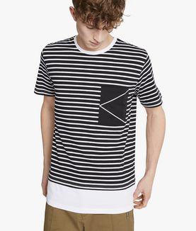 KARL LAGERFELD SAILOR STRIPE LOGO TEE