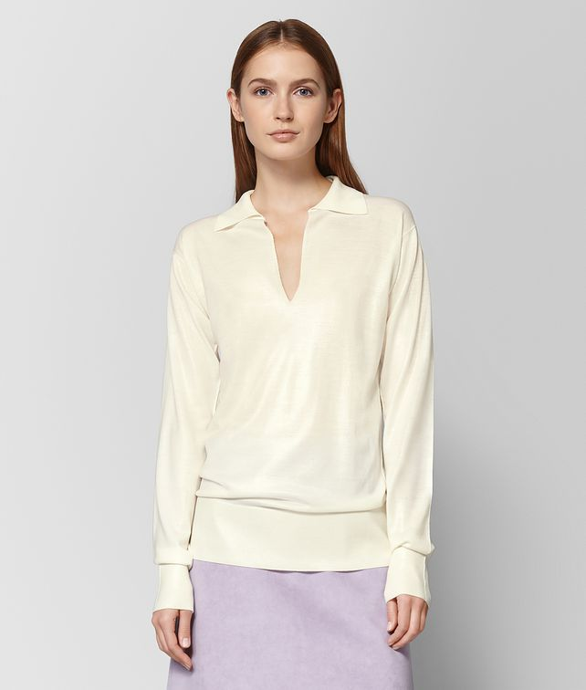 BOTTEGA VENETA LATTE WOOL SWEATER Knitwear or Top or Shirt Woman fp