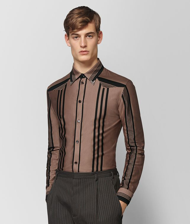 BOTTEGA VENETA CAMEL NERO COTTON SHIRT Shirt Man fp