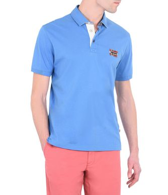 NAPAPIJRI ELOTH  EXCLUSIVE MAN SHORT SLEEVE POLO,AZURE