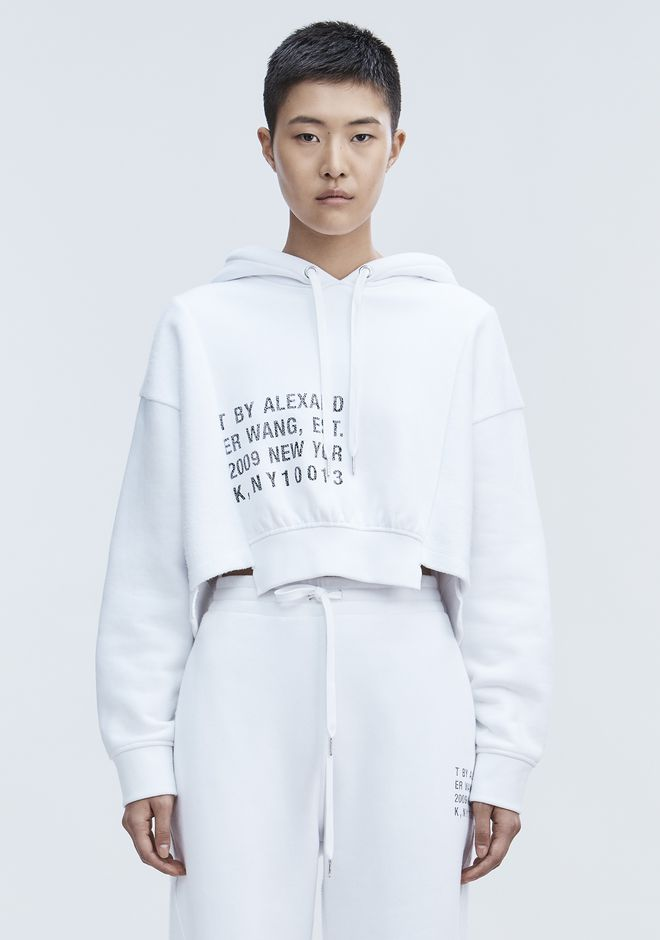 T by ALEXANDER WANG TOPS CROPPED FLEECE HOODIE