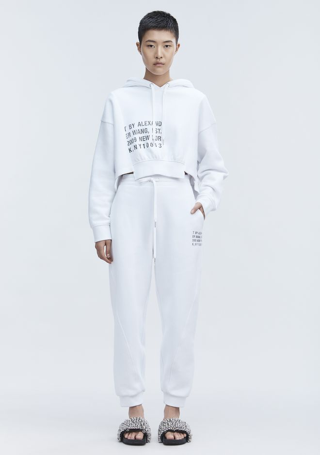 T by ALEXANDER WANG CROPPED FLEECE HOODIE TOP Adult 12_n_f