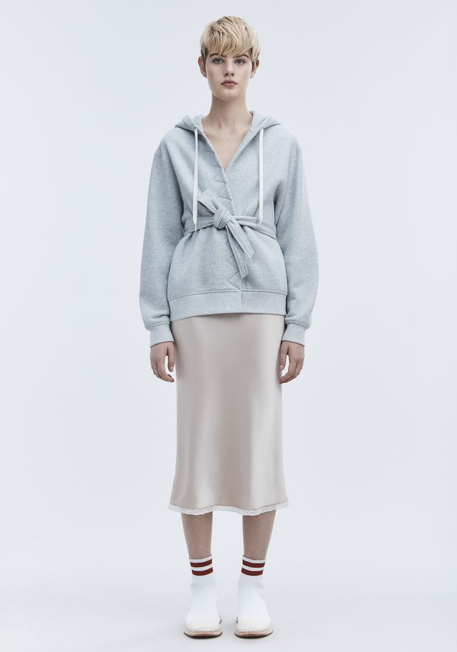 T by ALEXANDER WANG WRAP FLEECE HOODIE TOP Adult 12_n_f