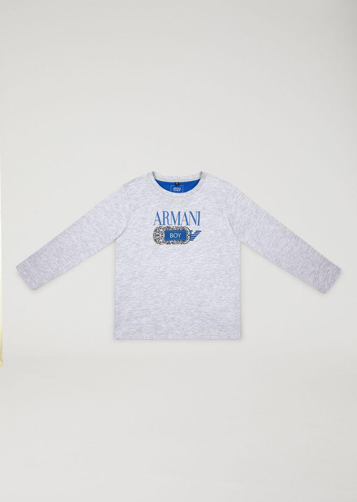9b3dfef0bb0b0 T-shirt à manches longues avec imprimé tribal | Enfant | Armani Junior