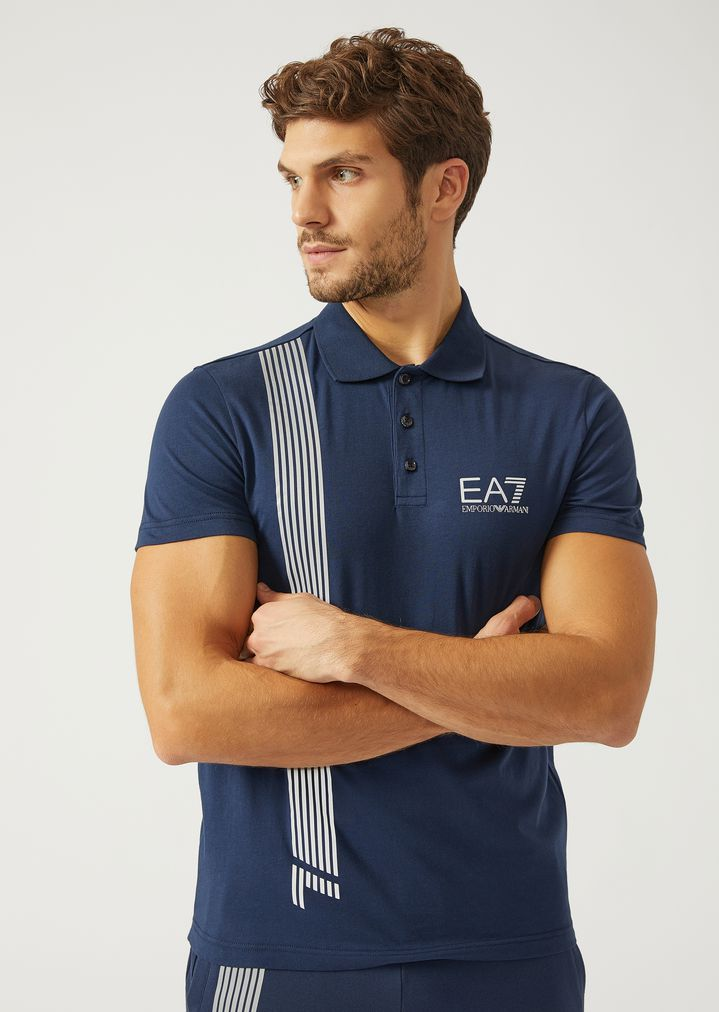 60d947a4 Polo shirt with seven stripe print | Man | Ea7