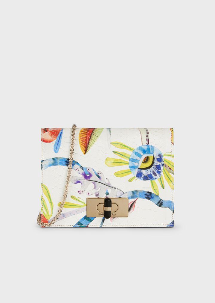 e1328641eb Borgonuovo 11 Floral snakeskin shoulder bag