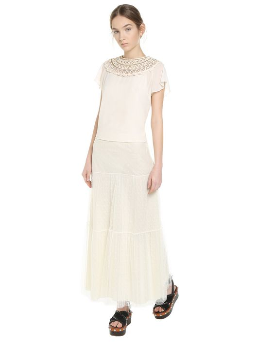 REDValentino Georgette top with tubular embroidery