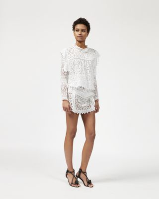 KERY top in broderie anglaise