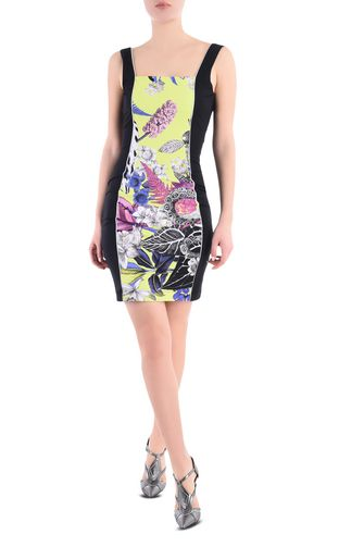 JUST CAVALLI Short dress D Jacquard Crocco dress with wide straps f