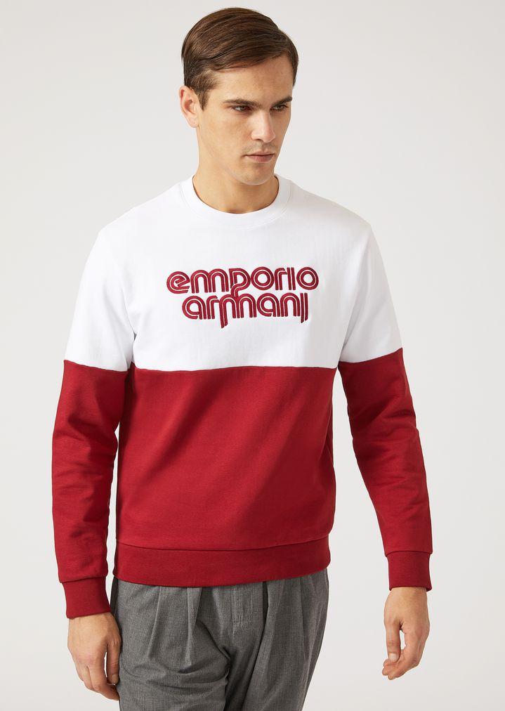 c47edcd6486a Cotton Blend Two-Tone Sweatshirt with Logo Detail | Man | Emporio Armani