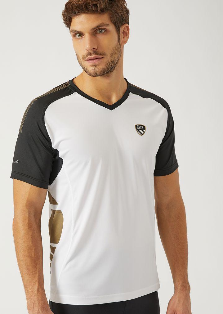 e2b570d49867 Synthetic Jersey V-Neck T-Shirt | Man | Ea7
