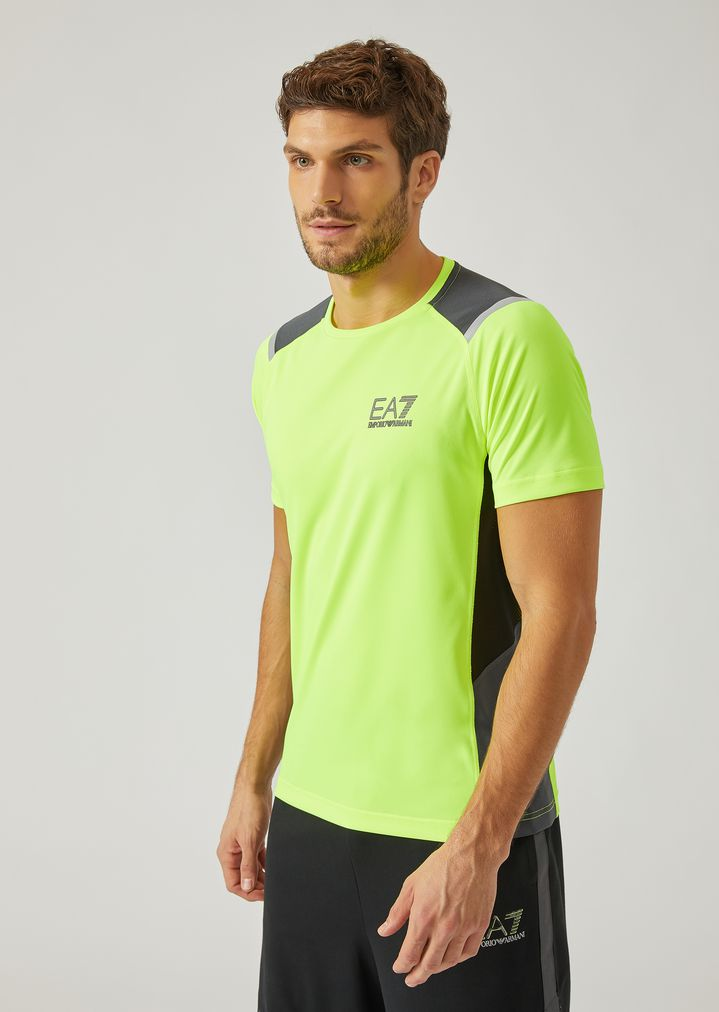 1f9b3a39 Synthetic Jersey T-Shirt with Side Stripes | Man | Ea7
