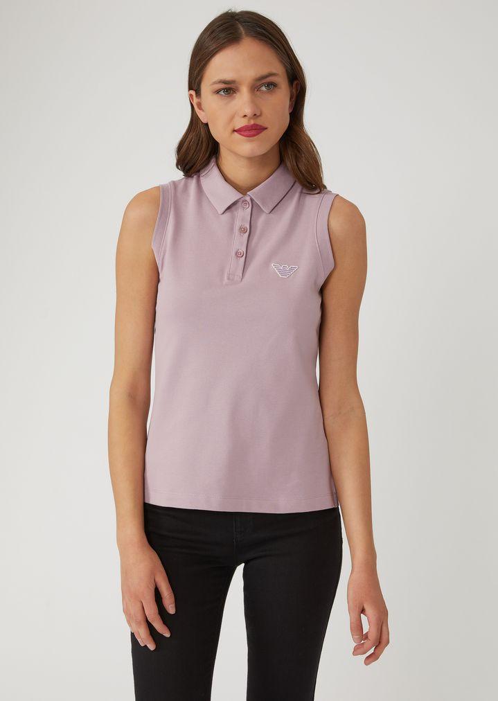 e13aa2166 ... best price sleeveless piqué polo shirt woman emporio armani 22318 6d5b8