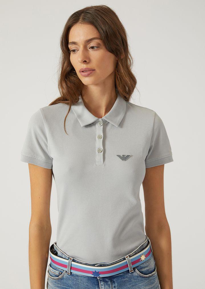 4ddfb09a Polo shirt in stretch cotton pique | Woman | Emporio Armani