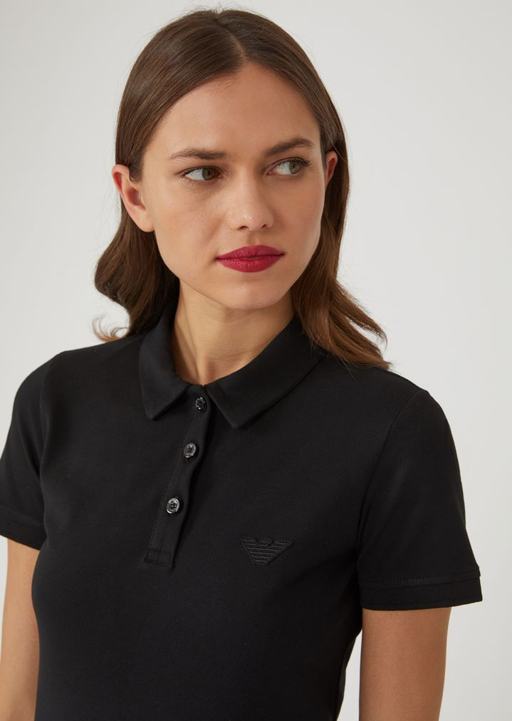 452346f88b64 EMPORIO ARMANI Polo shirt in stretch cotton pique Polo Shirt Woman a