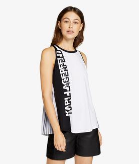 KARL LAGERFELD PLEATED BACK LOGO TANK TOP