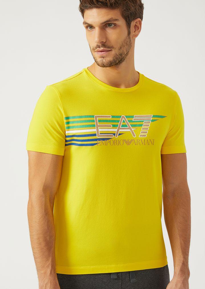 cd859d97ba Stretch jersey T-shirt with maxi logo | Man | Ea7