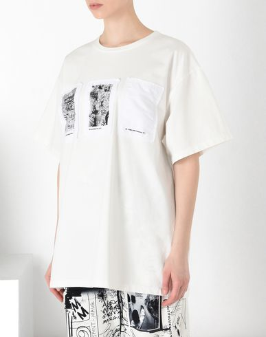 MM6 MAISON MARGIELA Short sleeve t-shirt Woman Tripe patch T-shirt f