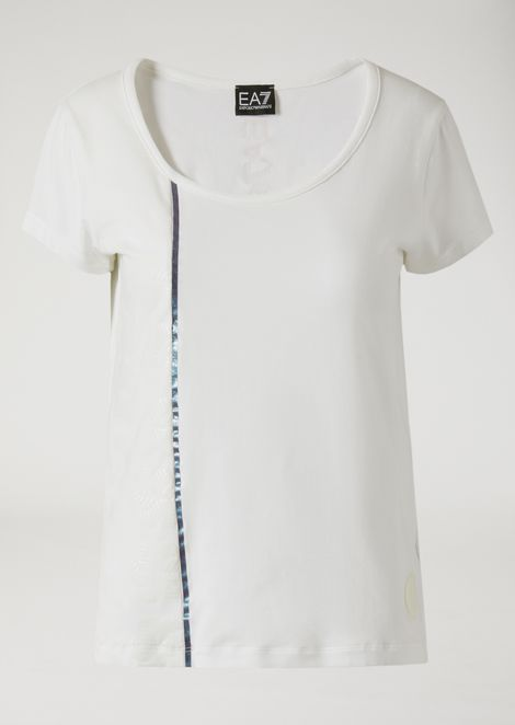 T-shirt in jersey stretch con inserti cangianti