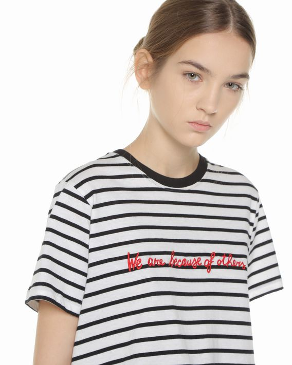 c3a96dc85 ... REDValentino Embroidered striped T-shirt with drawstring waistband