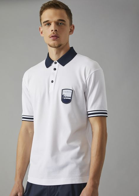 Cotton polo shirt with embroidered Pantelleria emblem