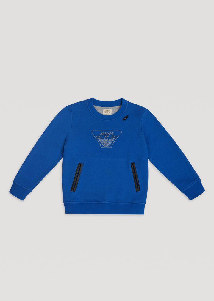 8bfb51847 Cotton sweatshirt with logo and headphone hole   Kid   Armani Junior