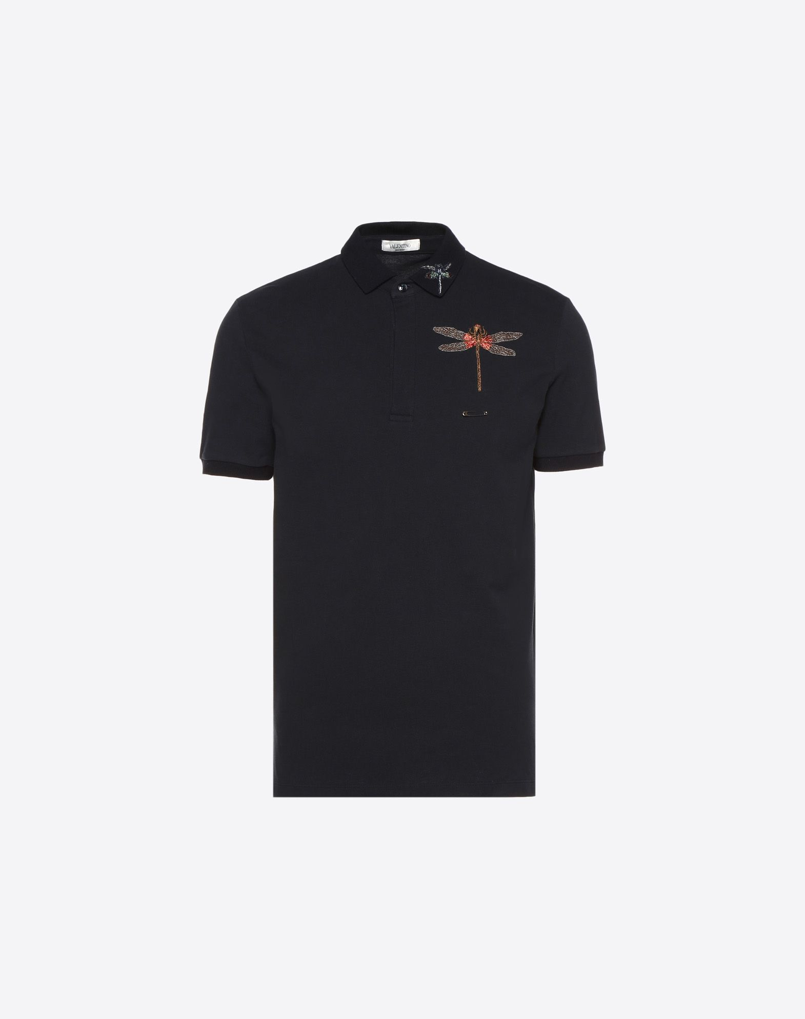 Valentino Dragonfly Embroidered Polo Shirt In Bright Blue Modesens
