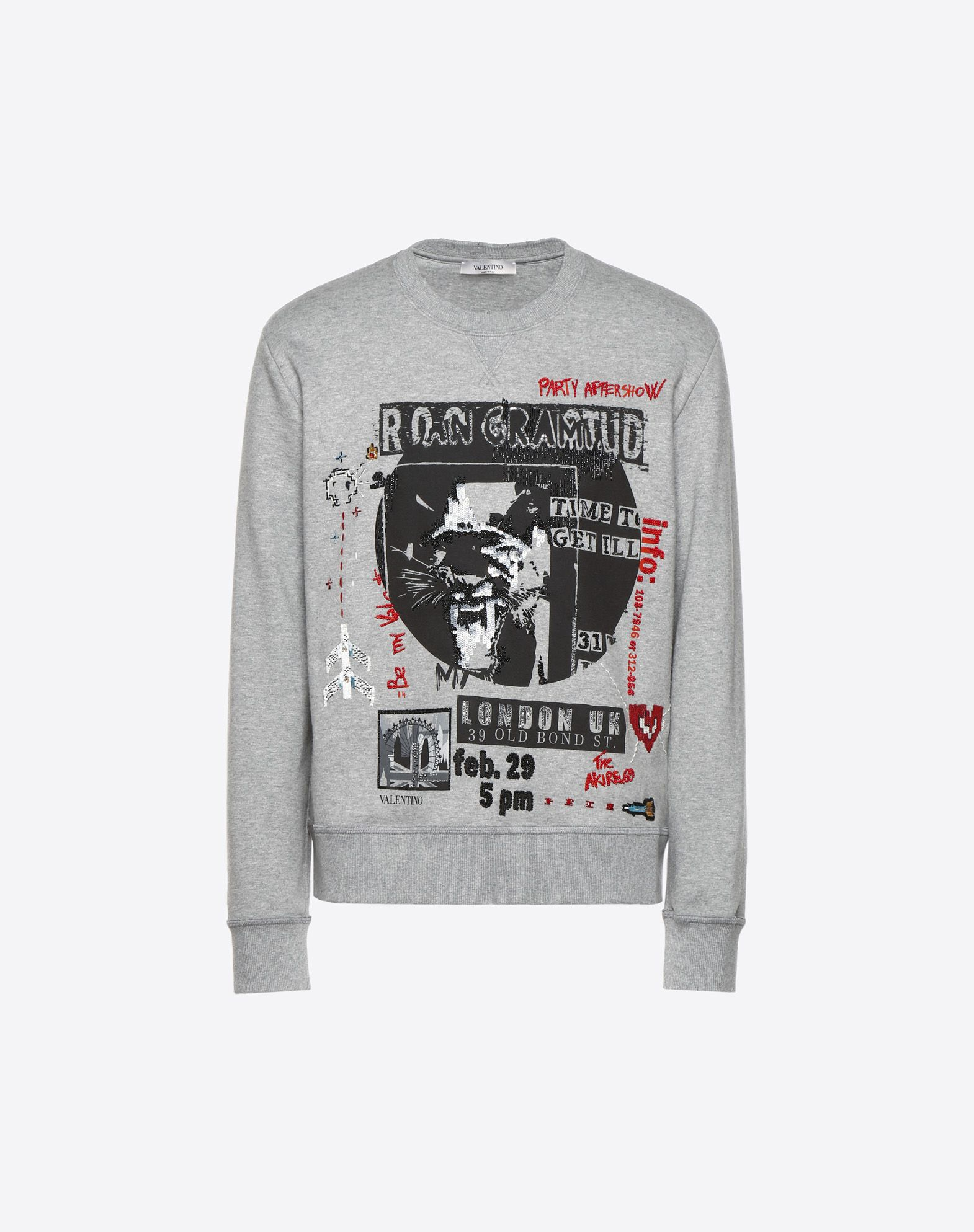 VALENTINO CONCERT-PRINT CREW-NECK SWEATSHIRT WITH EMBROIDERED DETAILING