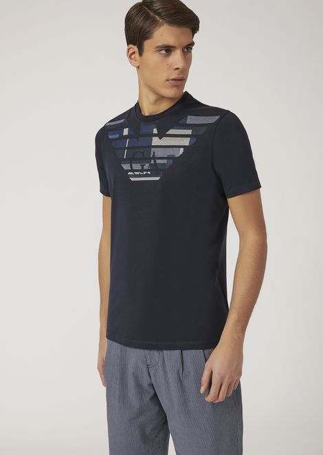 Cotton jersey T-shirt with embroidered logo