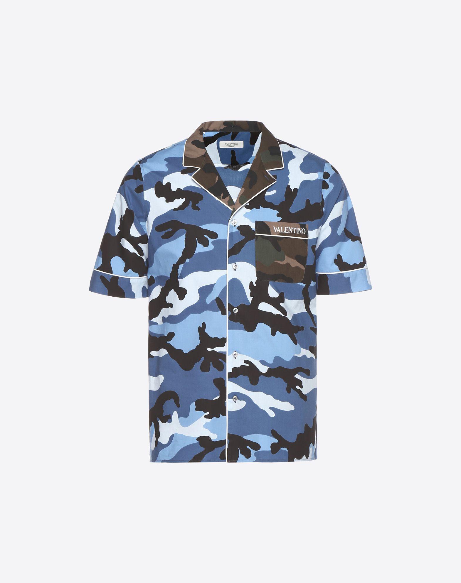 VALENTINO Logo Poplin Camouflage Lapel collar Single chest pocket Button closing  12177565mq