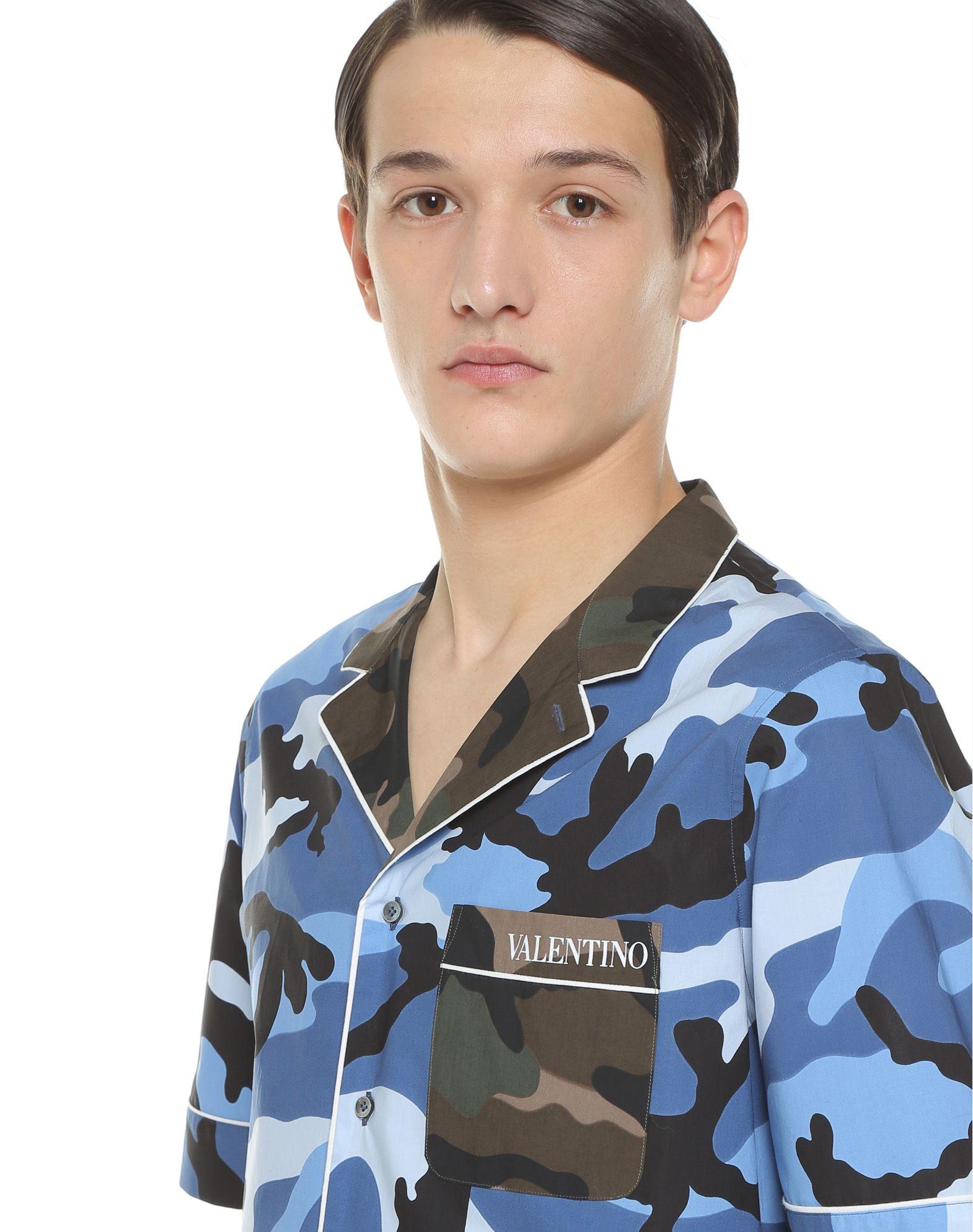 VALENTINO UOMO Camouflage-print bowling shirt Shirt U a