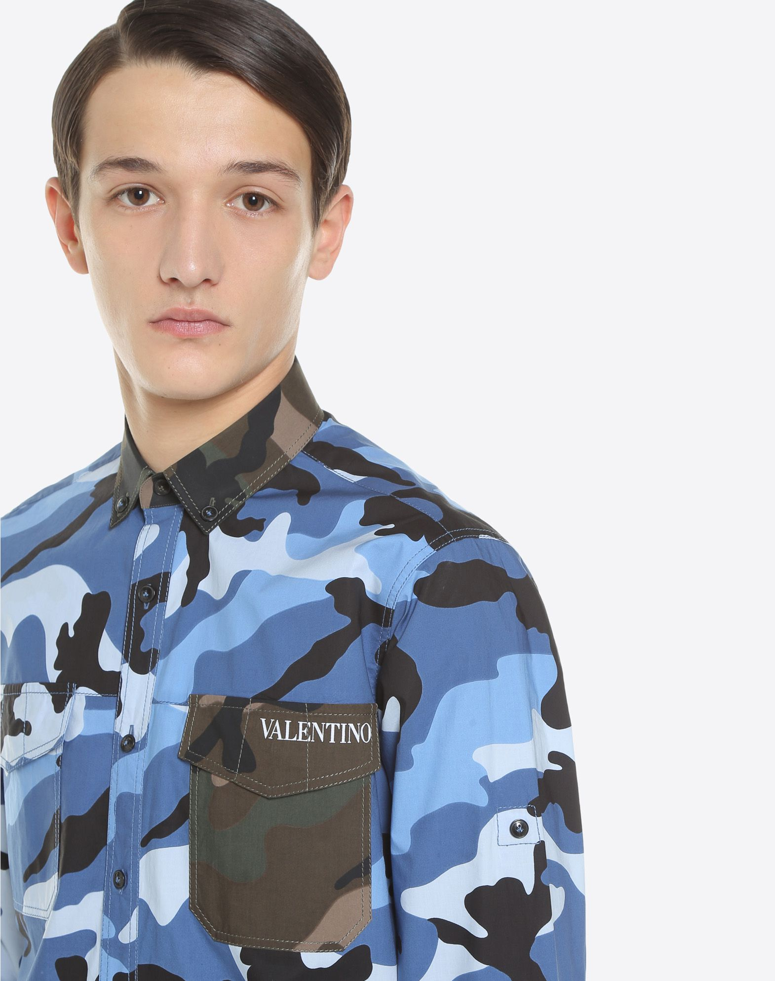 VALENTINO Logo Poplin Camouflage Button-down collar Dual cuffs Dual chest pockets Button closing Long sleeves  12177566vh