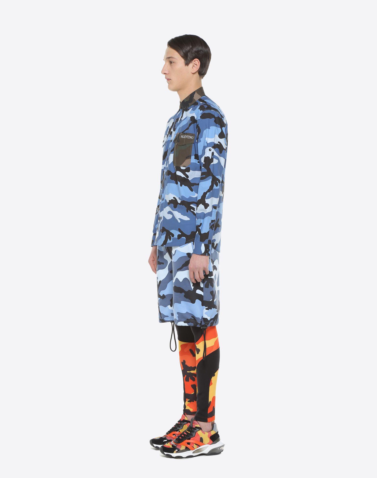 VALENTINO UOMO Camouflage-print poplin shirt Shirt U d