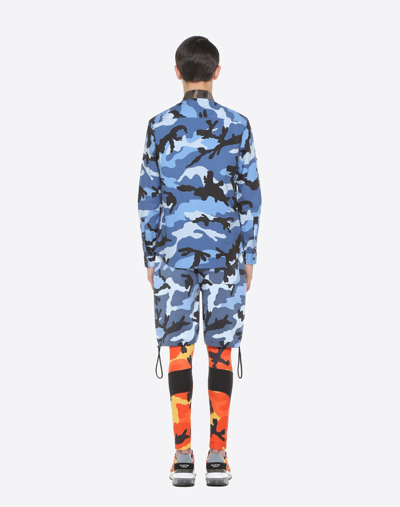 VALENTINO UOMO Camouflage-print poplin shirt Shirt U e