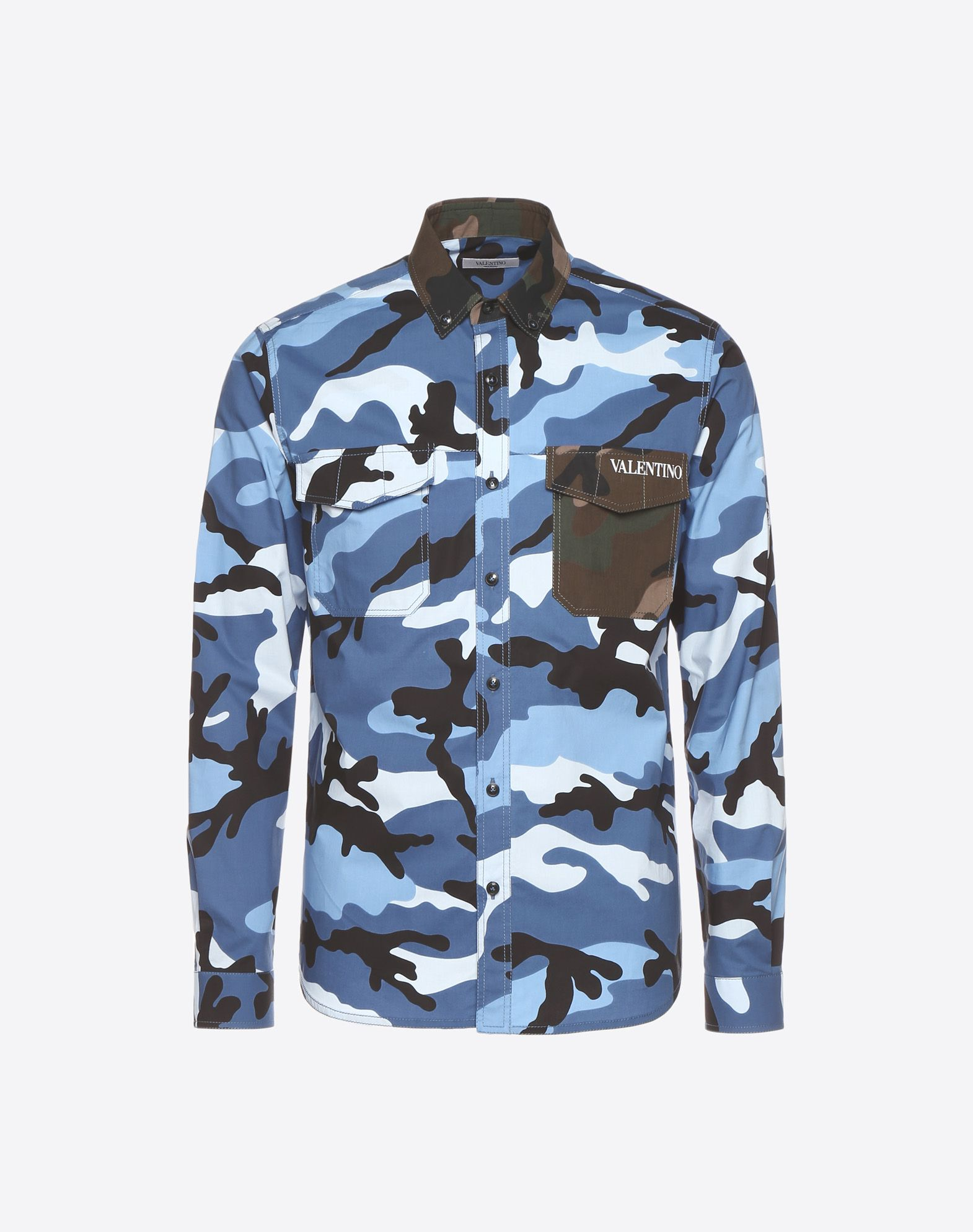 VALENTINO UOMO Camouflage-print poplin shirt Shirt U f