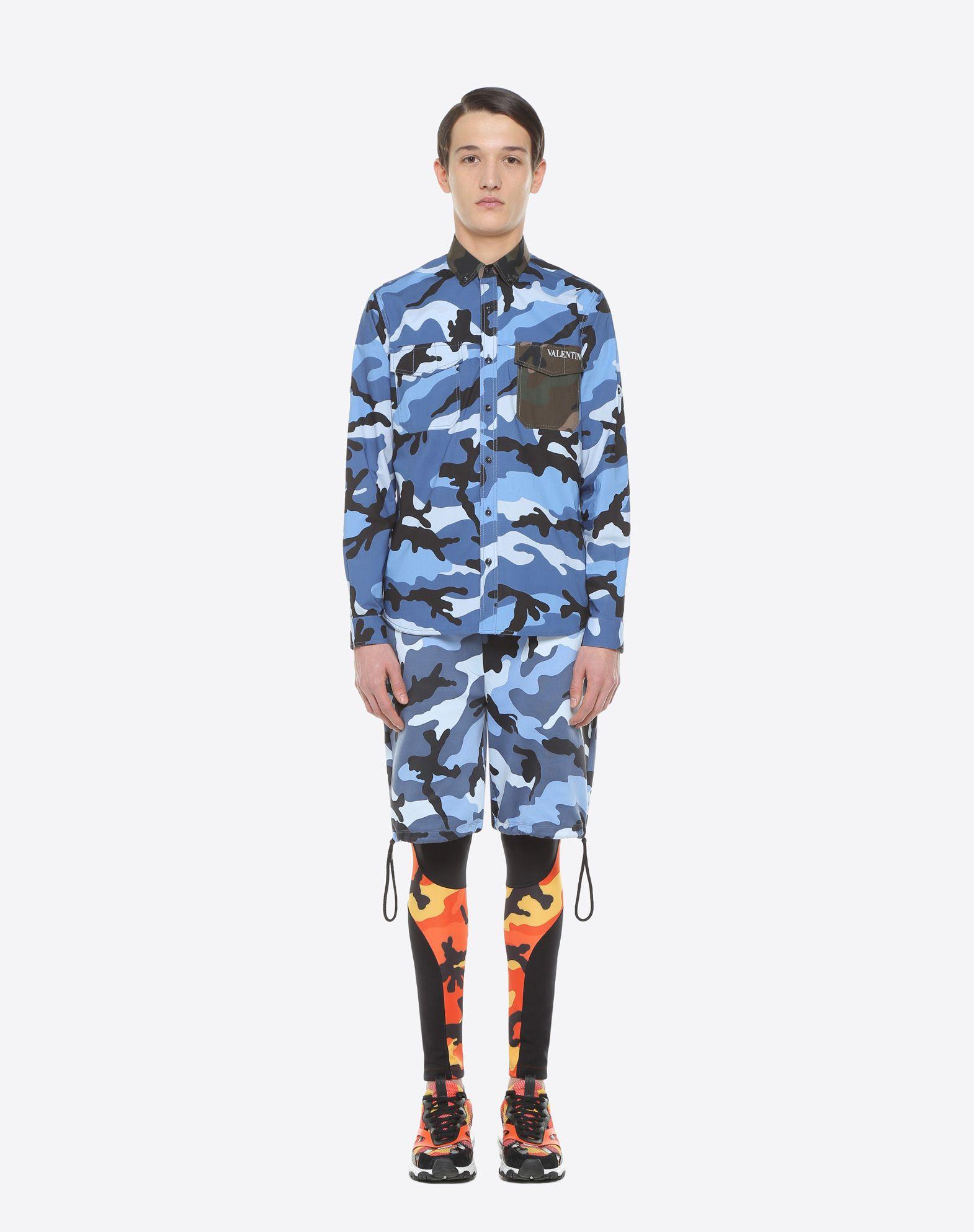 VALENTINO UOMO Camouflage-print poplin shirt Shirt U r