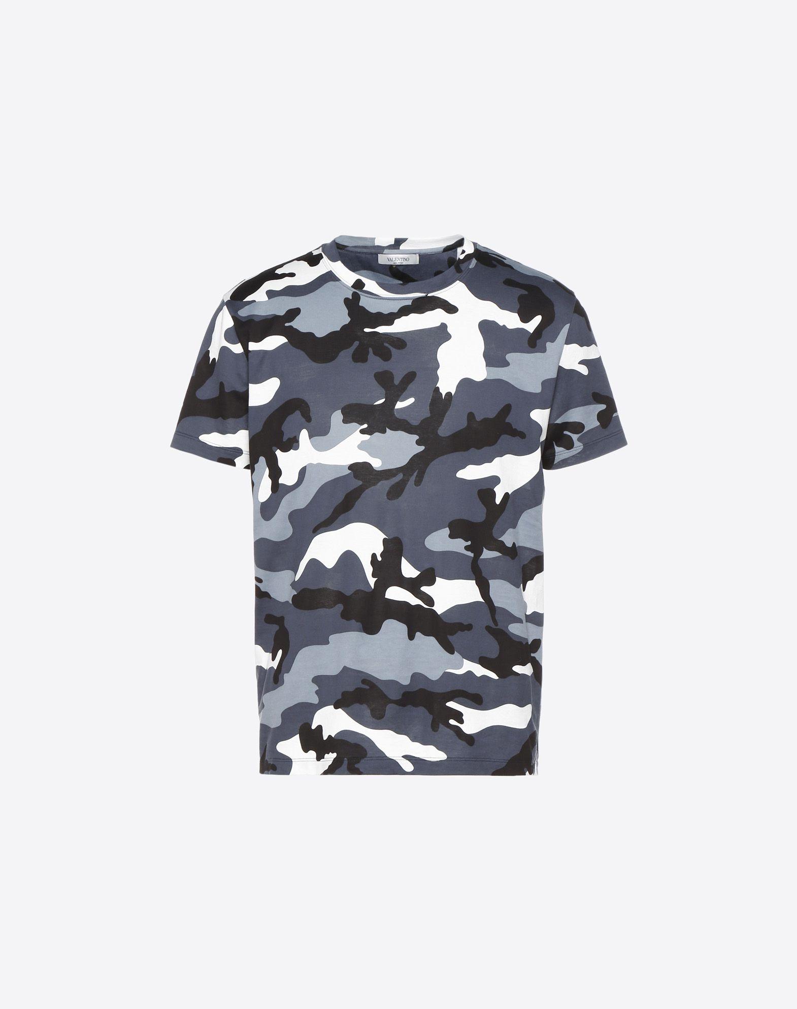 VALENTINO Jersey Round collar Short sleeves Camouflage Side slit hemline  12177568up