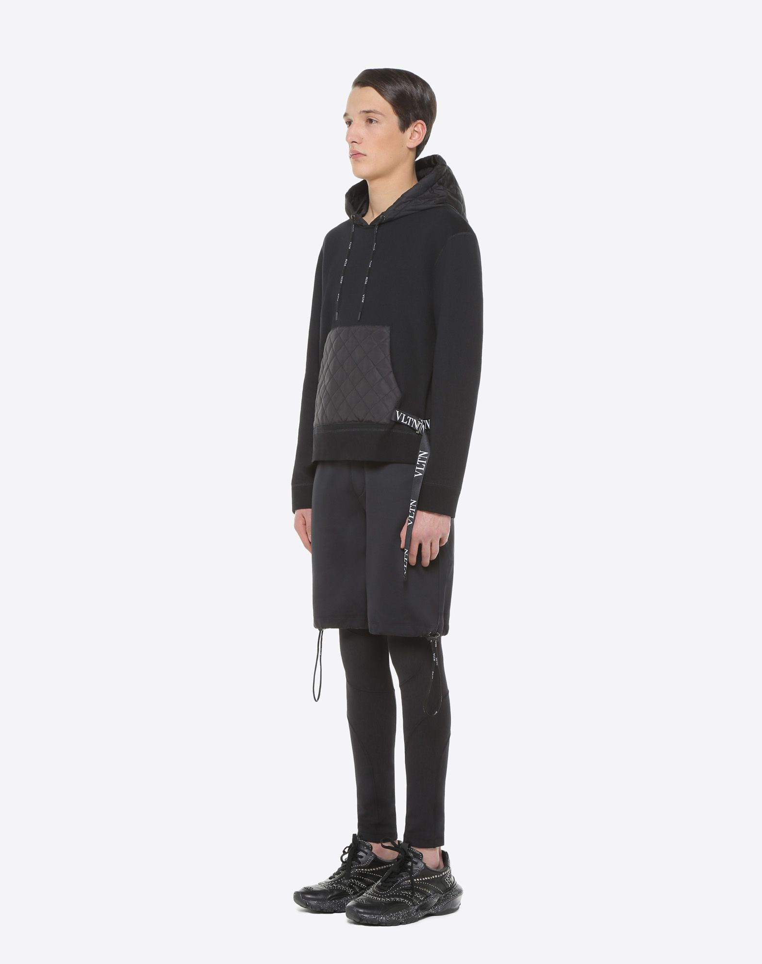 VALENTINO Logo Strap detailing Quilted Techno fabric Sweatshirt fleece Solid colour Round collar Single pocket French Terry lining Long sleeves  12177570ns