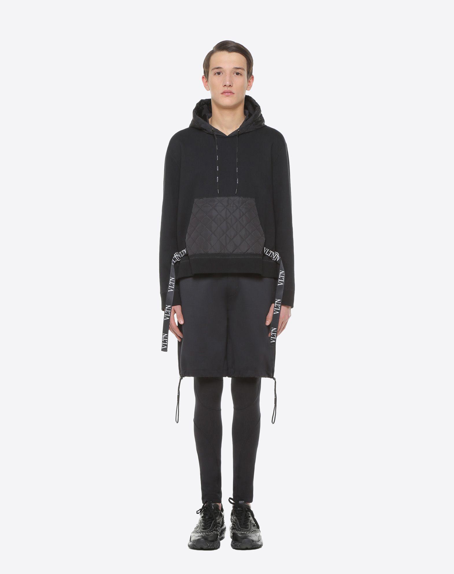 VALENTINO UOMO Sweatshirt with VLTN nylon hood Sweatshirt U r