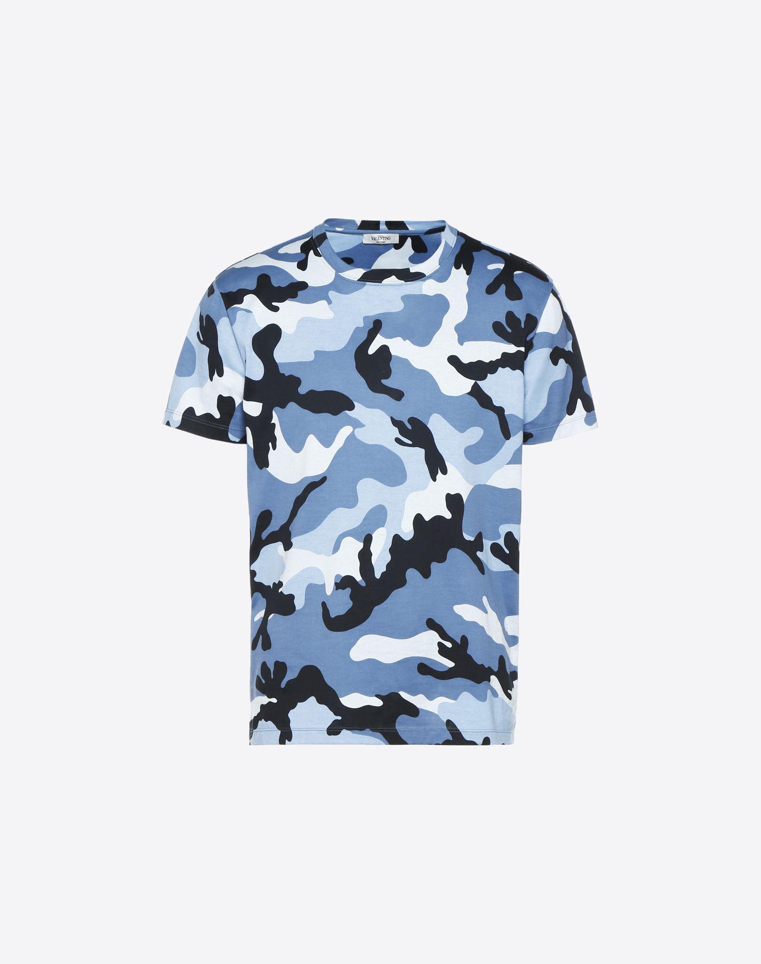 VALENTINO Jersey Camouflage Round collar Short sleeves Side slit hemline  12177571bq