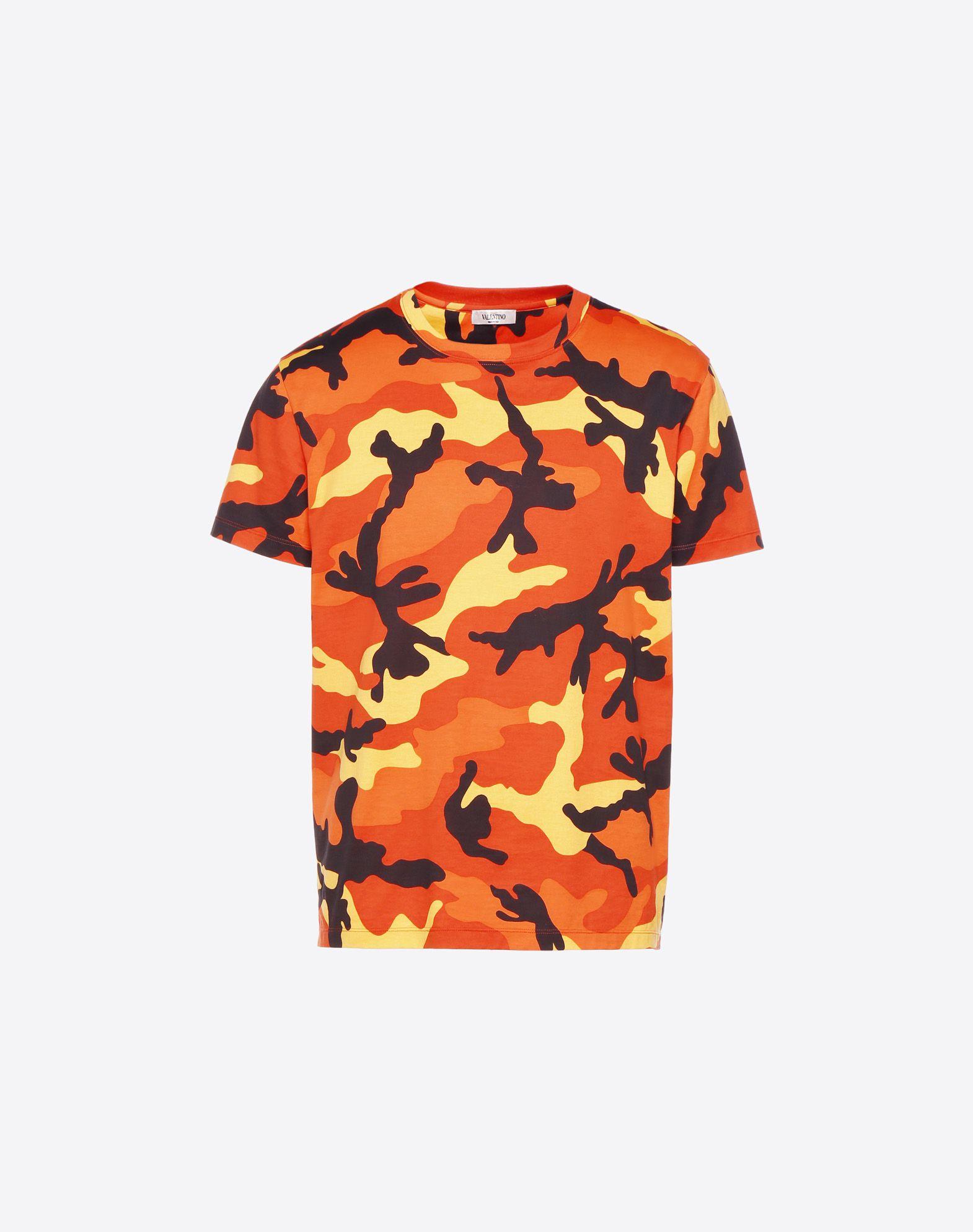 VALENTINO Camouflage Round collar Short sleeves Jersey Side slit hemline  12177572wi