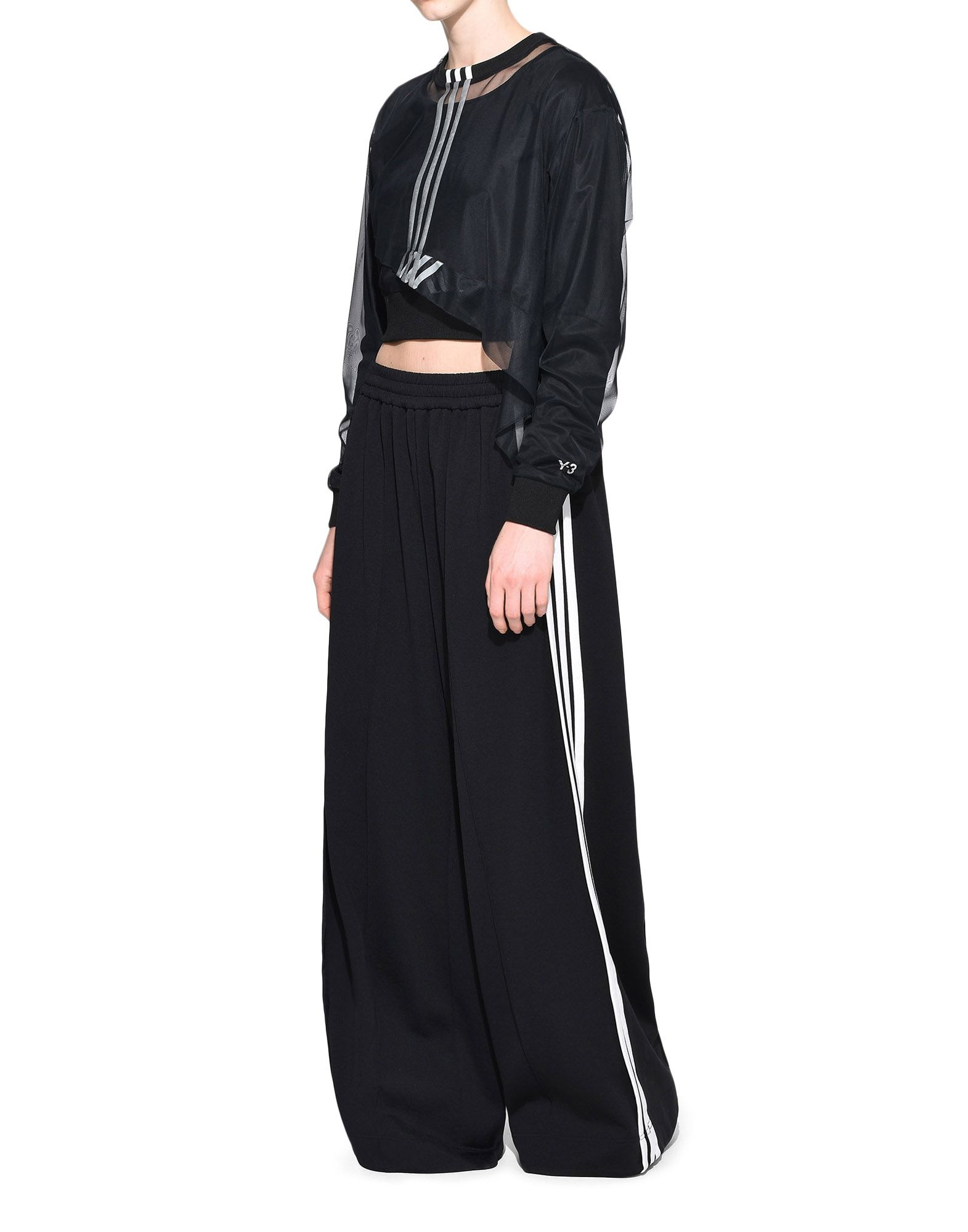 Y-3 Y-3 3-Stripes Mesh Cropped Tee Long sleeve t-shirt Woman a